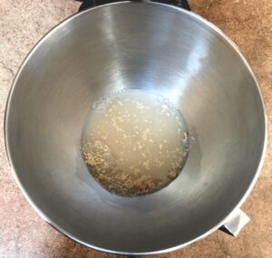 yeast, water and sugar for homemade pizza crust