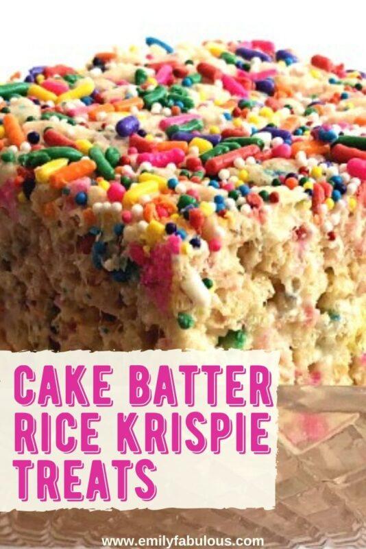 cake batter rice krispie treats with sprinkles