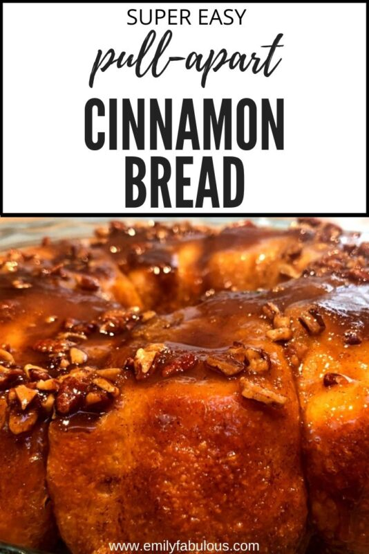 pull-apart cinnamon bread with a sticky brown sugar and nut topping made with frozen dinner rolls