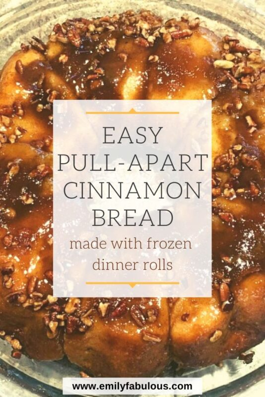 Cinnamon Roll Pull-Apart Bread with a sticky brown sugar and nut topping made with frozen dinner rolls