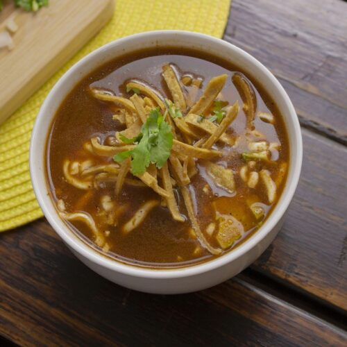 tortilla soup with tortilla strips