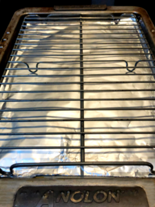 baking sheet with foil and rack