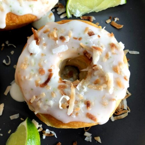 air fried toasted coconut lime donut and limes