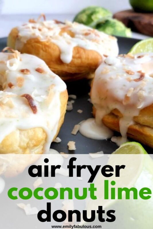 air fried donuts with coconut lime glaze and toasted coconut on top