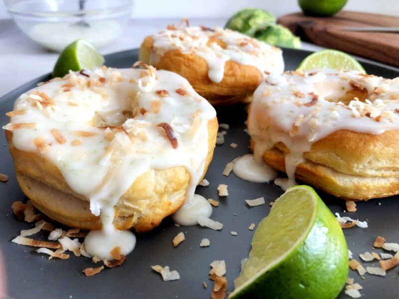 coconut lime donuts with limes