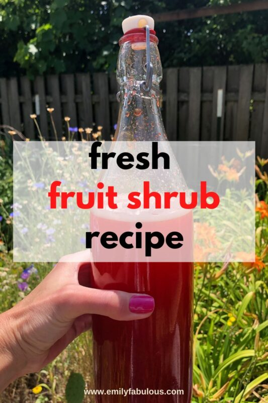 fresh strawberry shrub in a bottle
