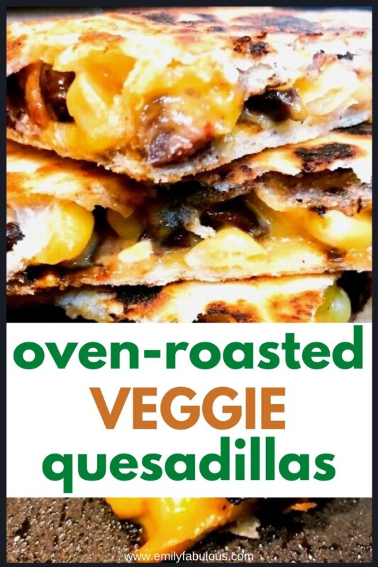 roasted veggies in a cheese quesadilla cut into quarters and stacked