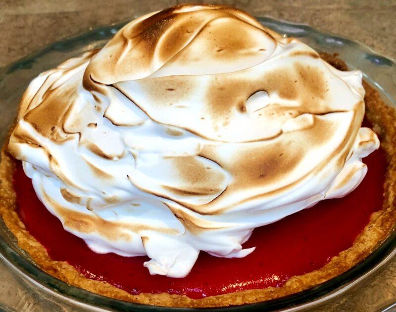 lemon cranberry meringue pie with toasted meringue