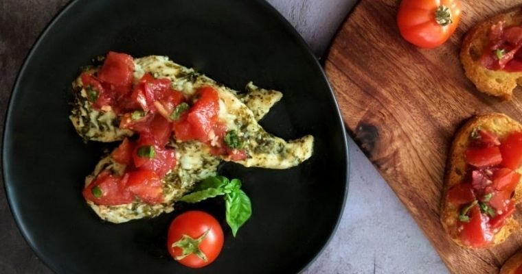 Pesto Chicken with Bruschetta