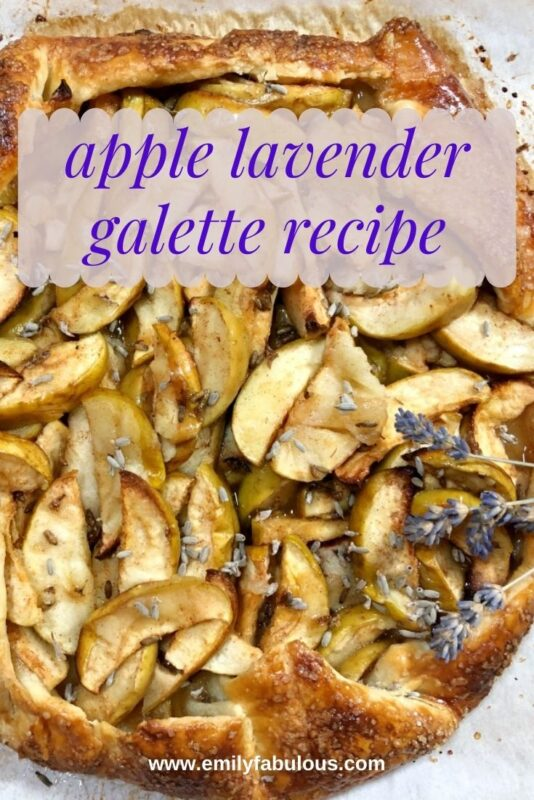 apple lavender galette on parchment paper with dried lavender buds on top