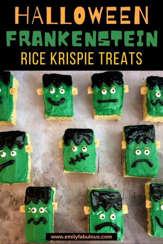 decorated frankenstein rice krispie treats
