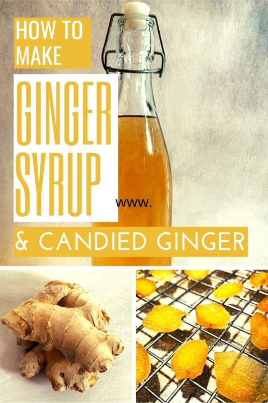 a bottle of ginger syrup, fresh ginger pieces and candied ginger on a cooling rack