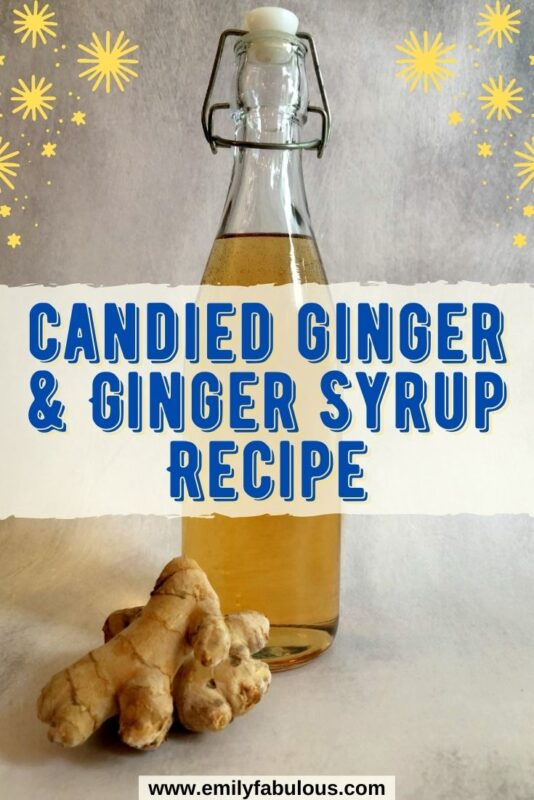a fliptop bottle of homemade ginger syrup with fresh ginger in front of it