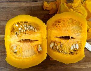 cooked pumpkin cut in half