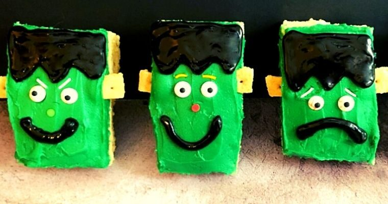 Frankenstein Rice Krispie Treats for Halloween