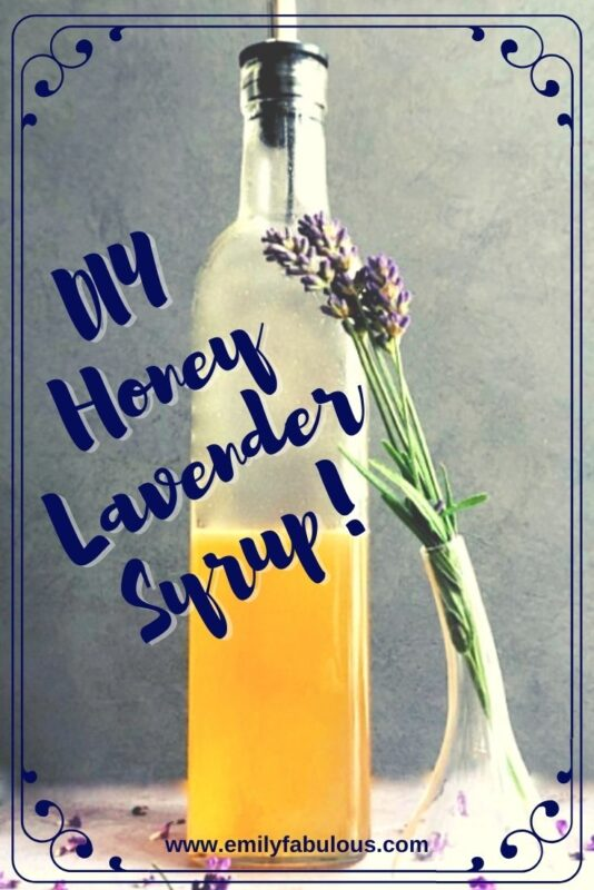homemade honey lavender syrup in a bottle with dried lavender sprig in a vase