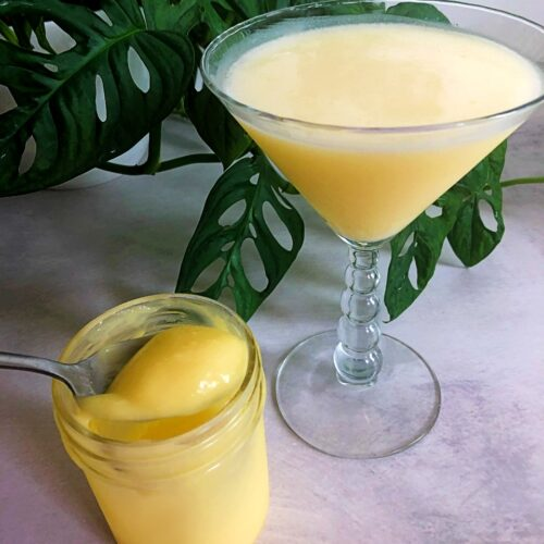lemon curd cocktail and lemon curd in a jar