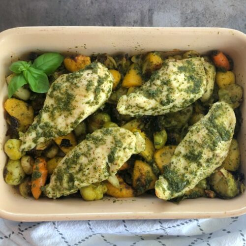 baked chicken and veggies with carrot greens pesto