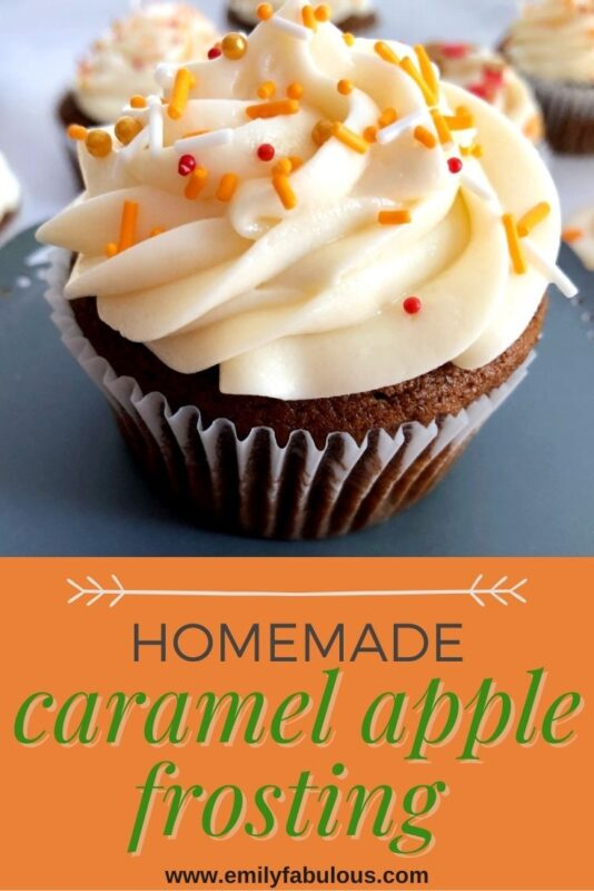 cupcake with apple caramel frosting and sprinkles