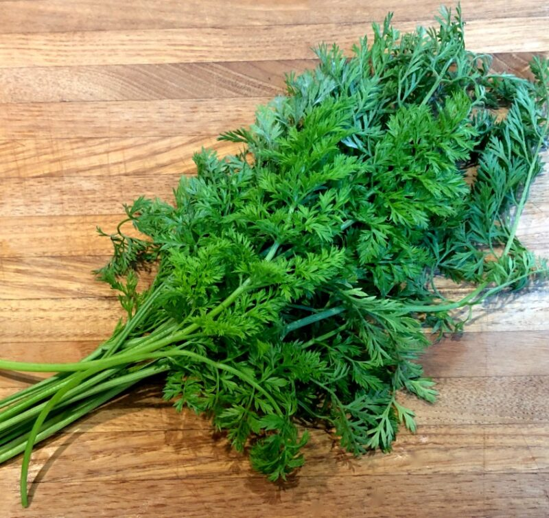 fresh carrot greens on a cutting board