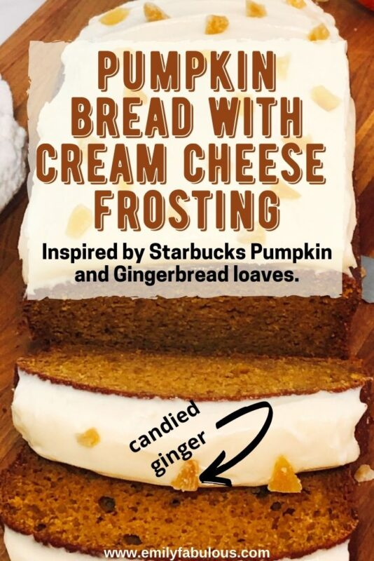 sliced pumpkin loaf with cream cheese icing and candied ginger