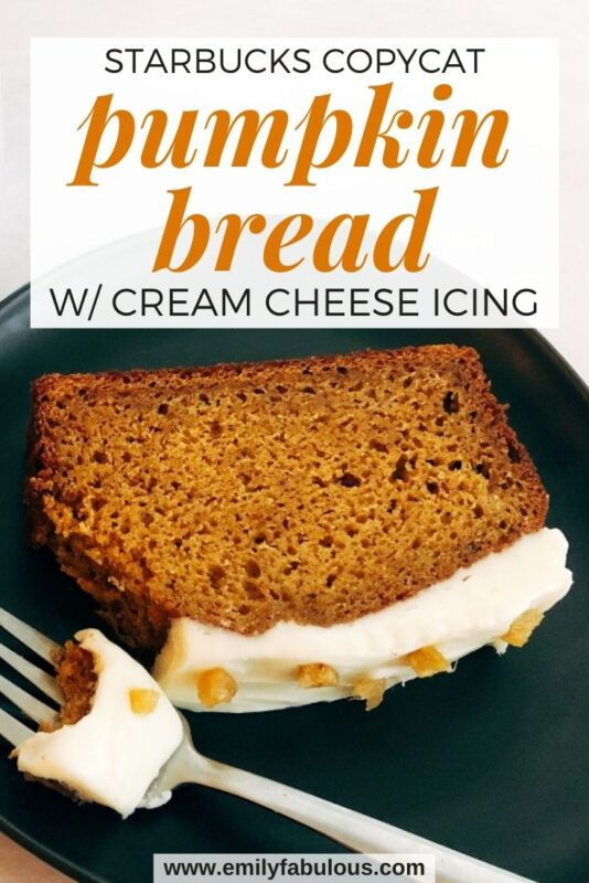 a slice of pumpkin bread with cream cheese icing and candied ginger on a plate