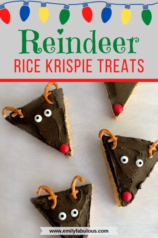 reindeer rice krispie treats with pretzel antlers and a candy nose