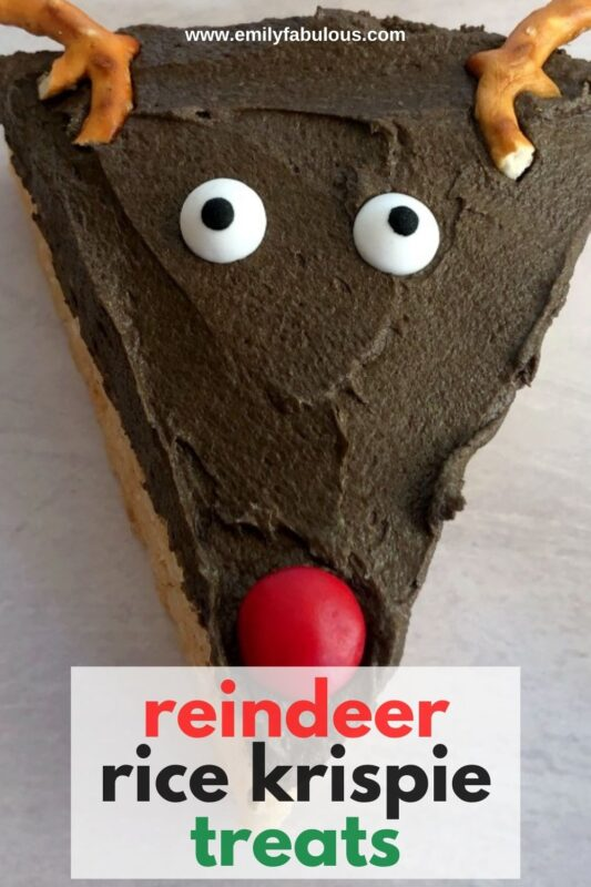 a reindeer rice cereal treat with pretzels and mm's