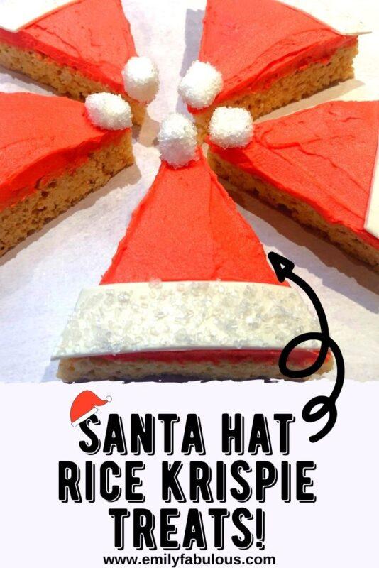 santa hat rice krispie treats in a circle with mini marshmallows