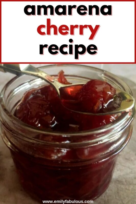 homemade dessert cocktail cherries in a jar with a spoon