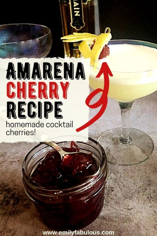 homemade amarena cherries in a jar and as a garnish for a cocktail