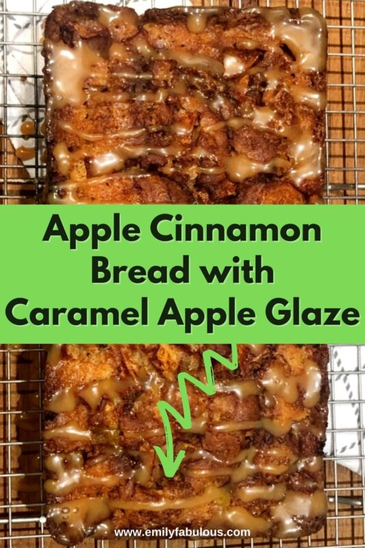 top view of a cinnamon apple loaf with caramel apple glaze