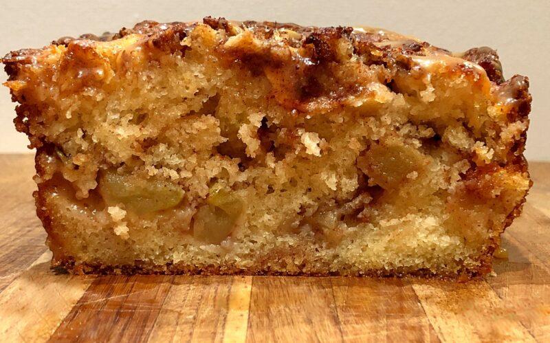 apple bread side view of slice