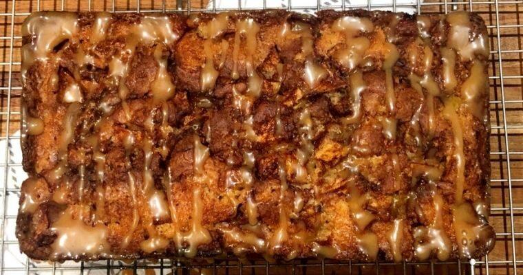 Apple Cinnamon Swirl Bread with Caramel Apple Glaze