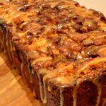 apple cinnamon bread with apple caramel glaze