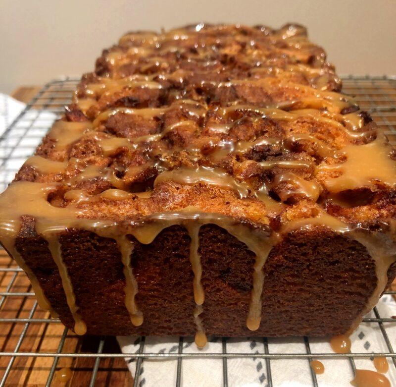 apple cinnamon swirl bread with apple caramel glaze