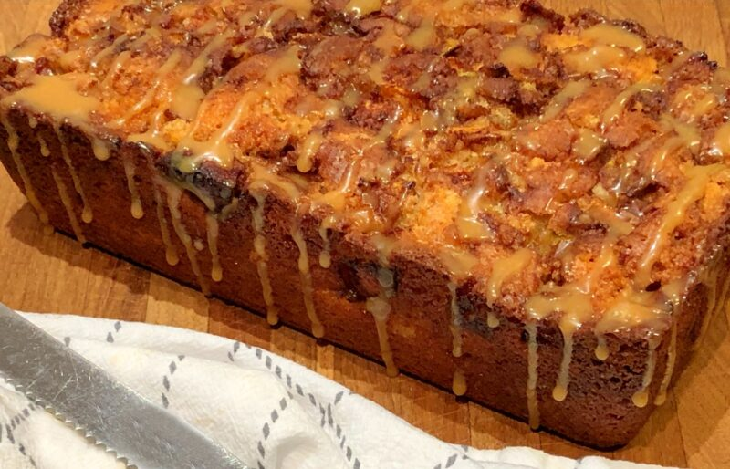 cinnamon apple swirl bread with caramel apple glaze