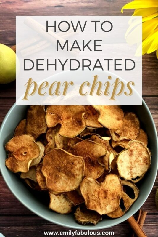 a bowl of dehydrated asian pear chips