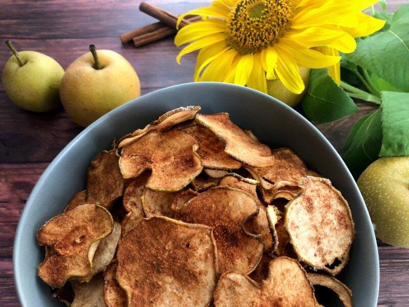 dehydrated pears with cinnamon and sugar in a bowl
