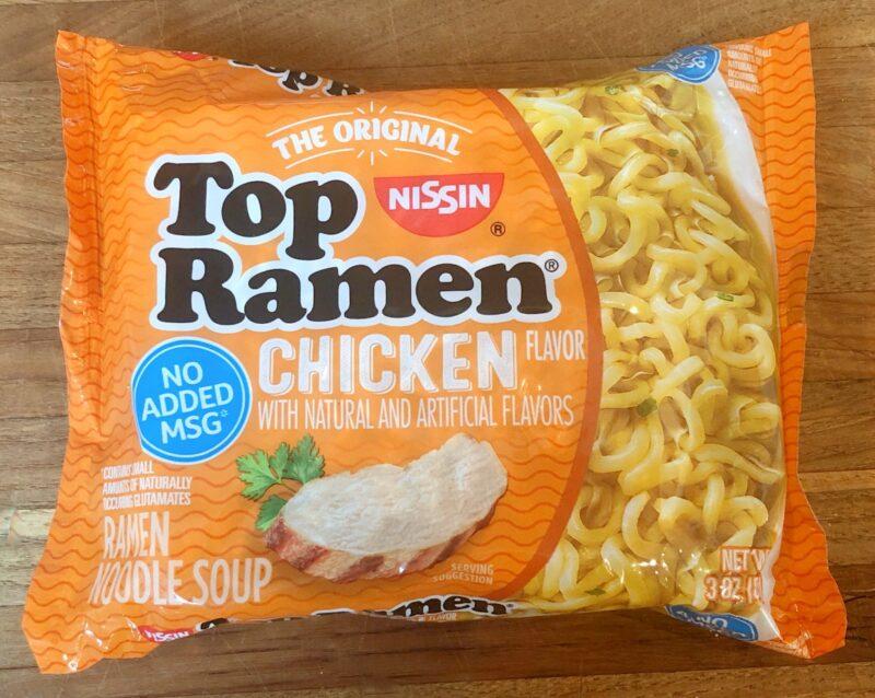 package of top ramen noodles, chicken flavor