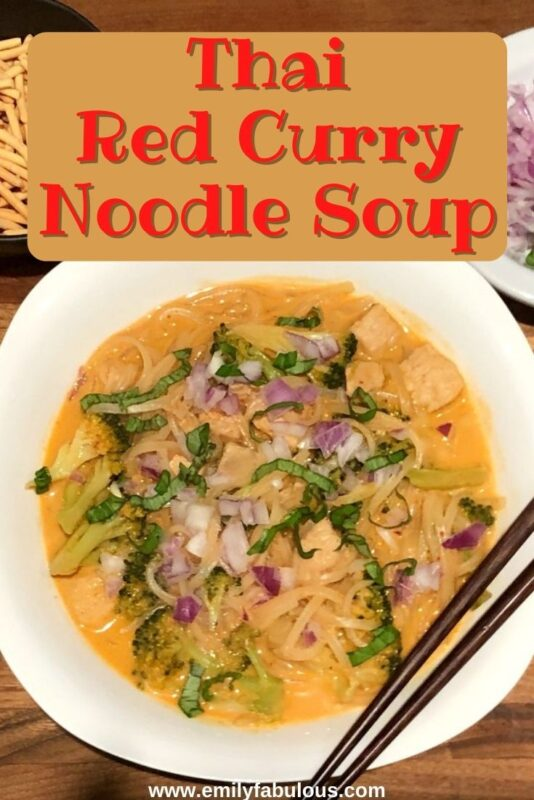 thai red curry noodles with red onion and basil
