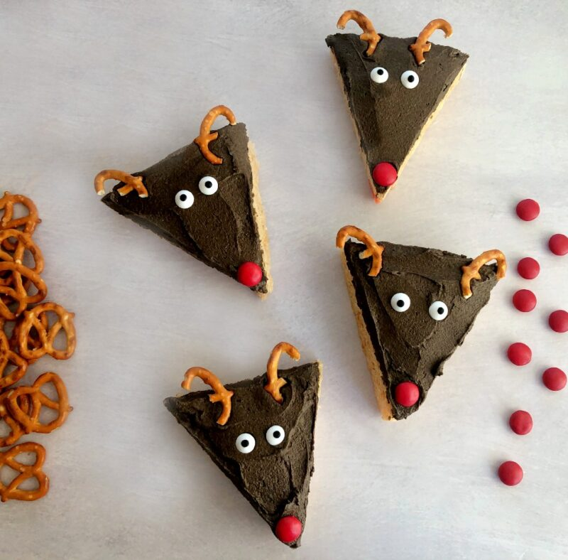 reindeer rice cereal treats with pretzels and candy noses