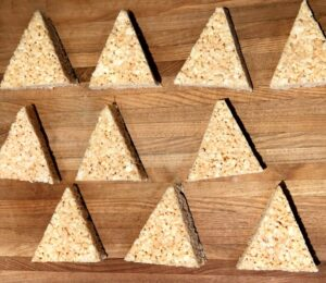 rice krispies cut into triangles