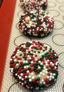 almond cookies with sprinkles before baking