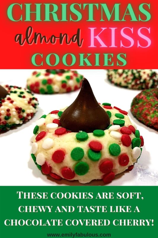 holiday drop cookie with colored sprinkles and a chocolate kiss on top