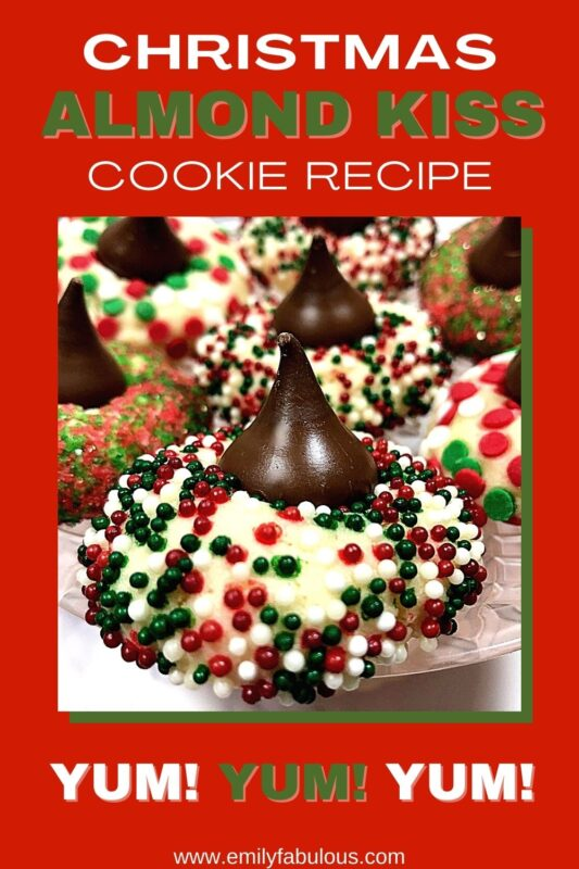 almond kiss cookies with holiday colored sprinkles on a plate