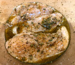 chicken breasts in seasoning for gyros