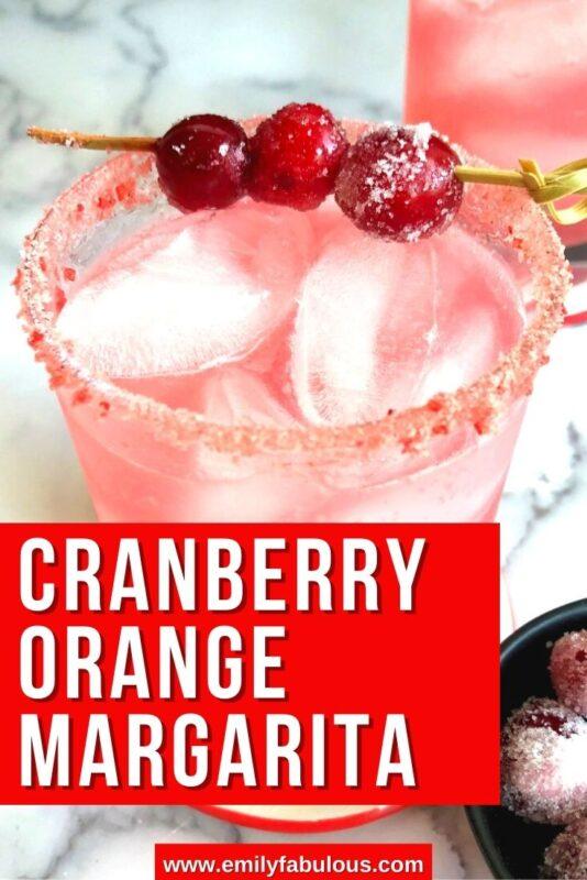 cranberry margarita with a sugared rim