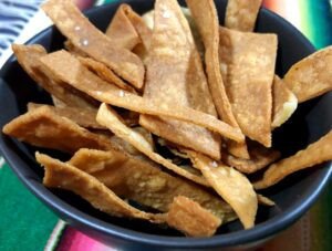fried tortilla strips in a bowl
