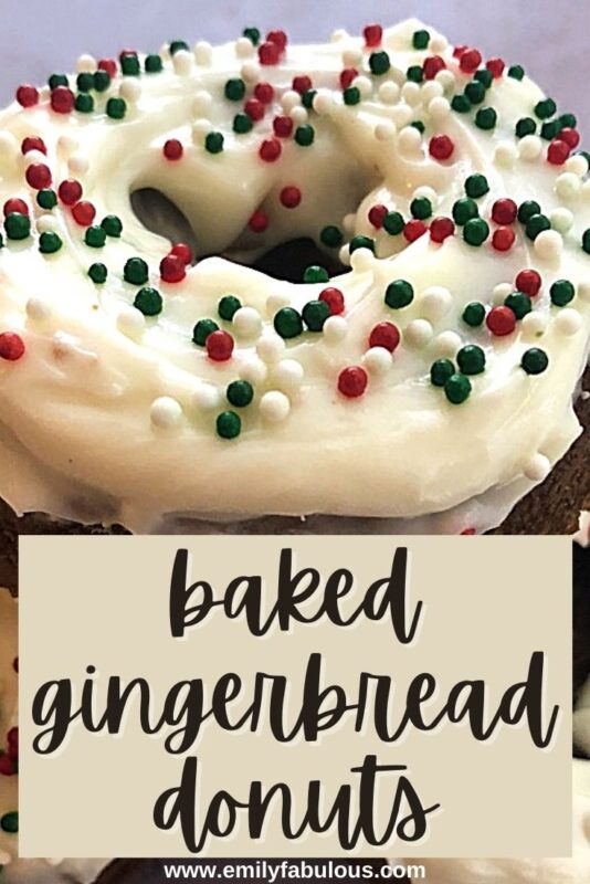 gingerbread donut with frosting and sprinkles